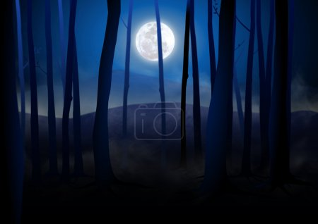 Photo manipulation of dark woods with Full Moon on...