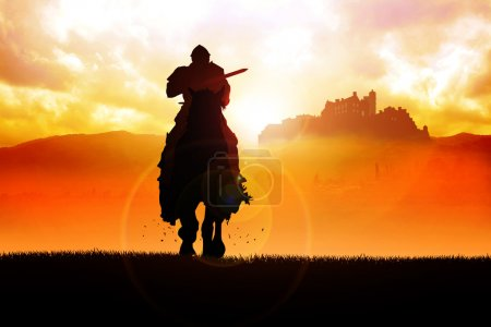Photo for Silhouette illustration of a knight holding a lance - Royalty Free Image