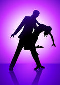Silhouette illustration of a couple dancing on purple light as the background