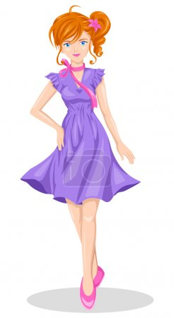 Illustration for Vector illustration of a girl in anime style - Royalty Free Image