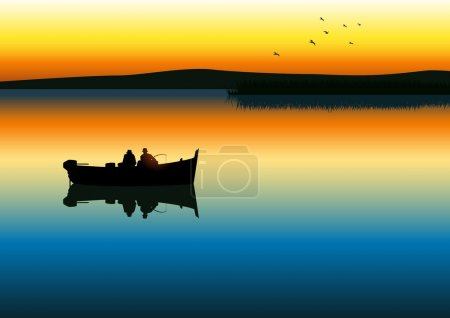 Illustration for Vector illustration of two men silhouette fishing on tranquil lake - Royalty Free Image