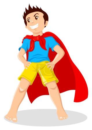 Illustration for Cartoon illustration of a kid pretending as a superhero - Royalty Free Image