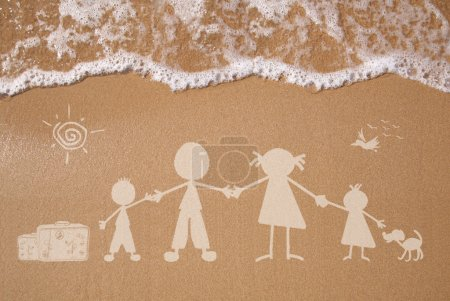 Photo for Stick figure family travels at the beach as concept - Royalty Free Image