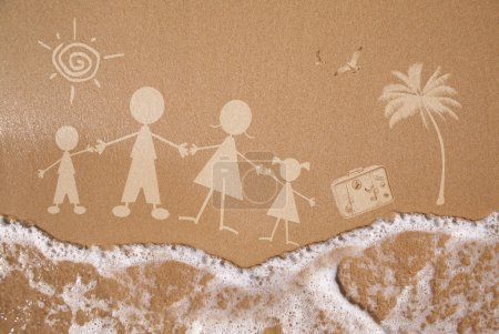Summer family vacations, on wet sand texture