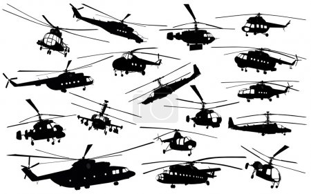 Illustration for Detailed helicopter silhouettes set. Vector on separate layers - Royalty Free Image