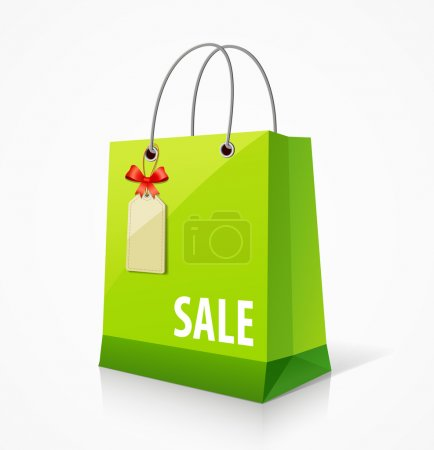 Illustration pour Shopping sac en papier vert vide, avec étiquette et ruban. illustration vectorielle - image libre de droit