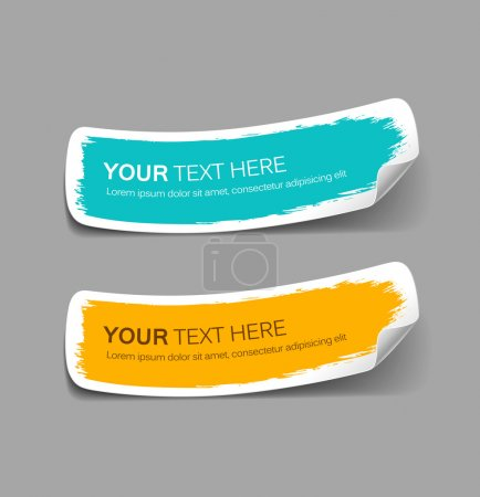 Illustration for Colorful label paper brush stroke, vector illustration - Royalty Free Image