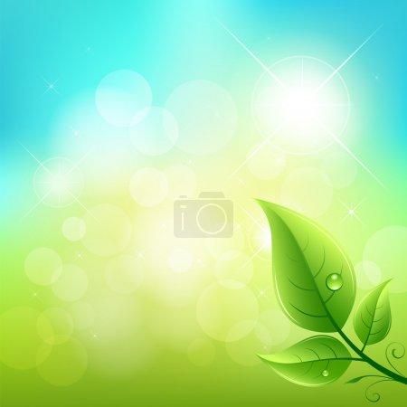 Illustration for Green leaf natural background, vector illustration - Royalty Free Image