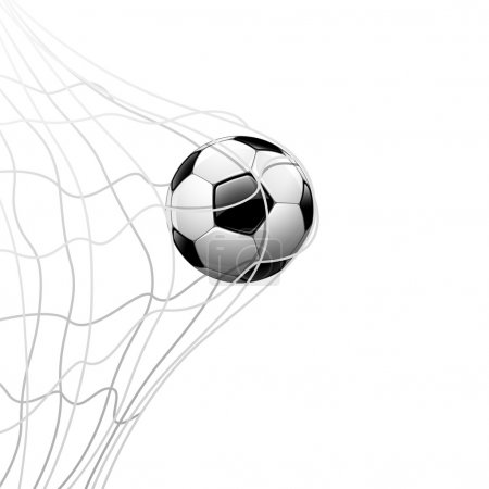Illustration for Soccer ball in net. isolated on white background, vector illustration - Royalty Free Image