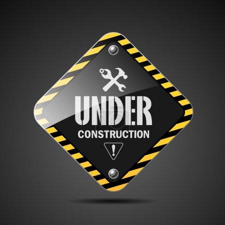 Under construction sign on black background