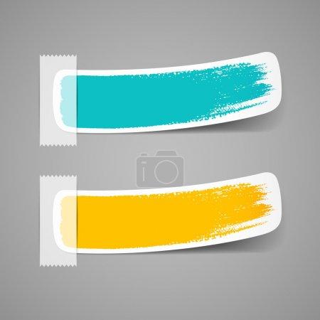 Illustration pour Étiquette colorée coup de pinceau, illustration vectorielle - image libre de droit
