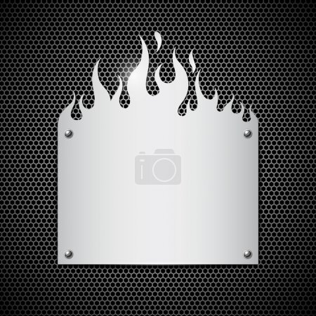 Blank plate stainless steel fire flames background