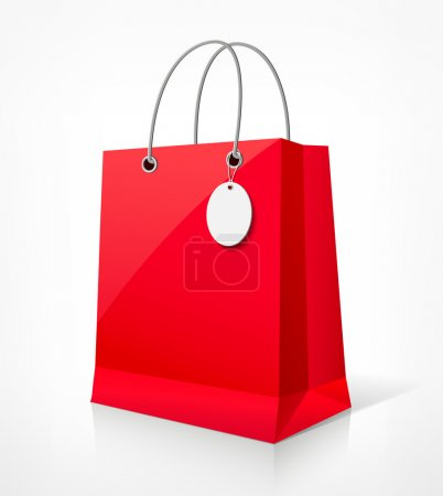 Shopping paper red bag empty