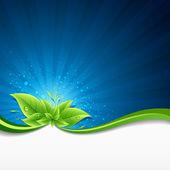 Green leaves ecology on lighting blue background