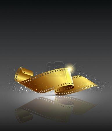 Illustration pour Film caméra rouleau couleur or, illustration vectorielle - image libre de droit