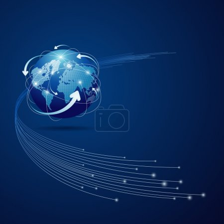 Illustration for Globe network connection blue background, vector illustration - Royalty Free Image