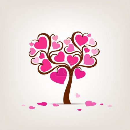 Illustration for Valentine's Day Tree pink heart, vector illustration - Royalty Free Image