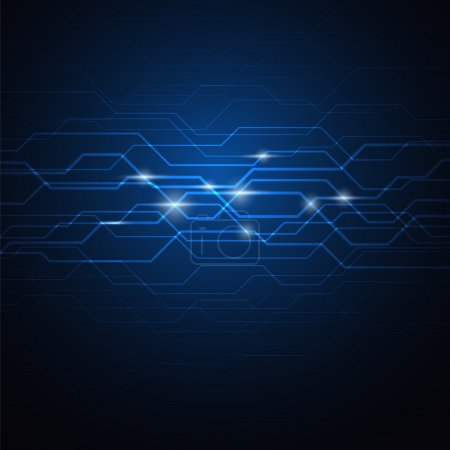 Photo for Abstract circuit blue background, vector illustration - Royalty Free Image