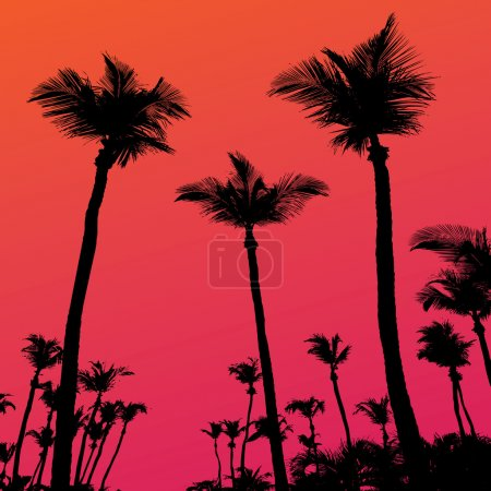 Illustration for Tropical coconut palm tree silhouettes illustration over a purple sunset sky in vector format. - Royalty Free Image