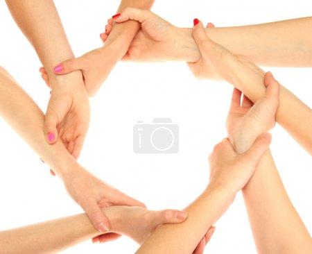Photo pour Groupe de jeunes 's mains isolées sur blanc - image libre de droit
