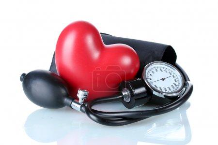 Photo pour Toniomètre noir et coeur isolé sur blanc - image libre de droit