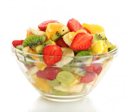 Photo for Glass bowl with fresh fruits salad isolated on white - Royalty Free Image