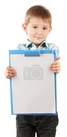 Portrait of happy little boy with clipboard isolated on white