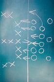 American football plan on blackboard