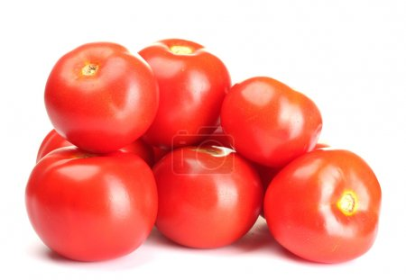 Photo for Ripe red tomatoes isolated on white - Royalty Free Image