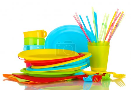 Photo for Bright plastic disposable tableware isolated on white background - Royalty Free Image