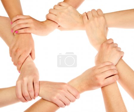 Group of young 's hands isolated on white