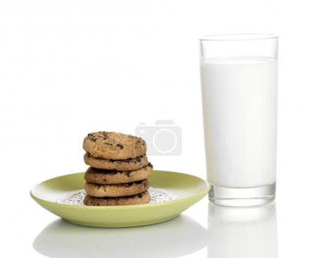 Glass of milk and cookies isolated on white