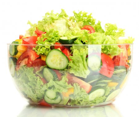 Photo for Fresh vegetable salad in transparent bowl isolated on white - Royalty Free Image
