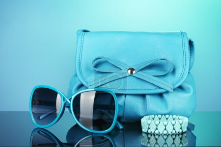 Photo for Women's fashion accessories on bright colorful background - Royalty Free Image