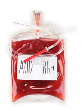 Bag of blood and infusion isolated on white