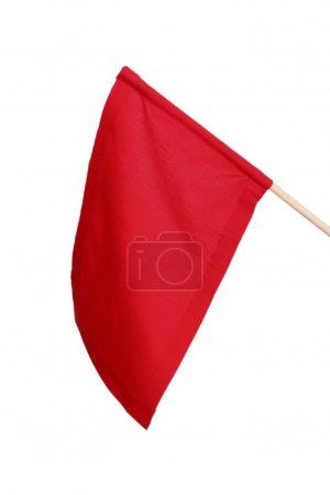 Photo pour Drapeau de signal rouge isolé sur blanc - image libre de droit