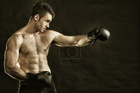 Photo pour Boxer sportif de portrait en studio sur fond sombre - image libre de droit