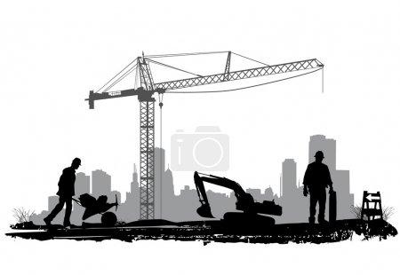Illustration pour Construction silhouette vecteur - image libre de droit