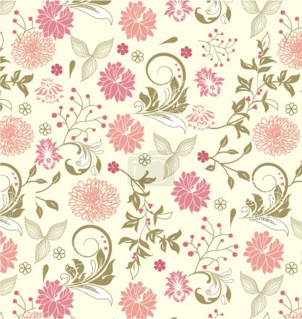 Photo for FLORAL ILLUSTRATION.Floral seamless pattern, vector design - Royalty Free Image