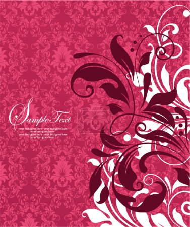 Red damask invitation card