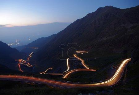 Night traffic on mountain road