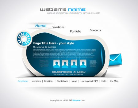 Modern web templave with paper style background