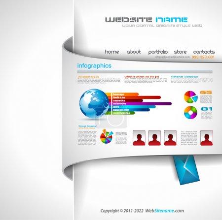 Illustration pour Templave web moderne avec fond de style papier et ombres transparentes. idéal pour le site Web d'entreprise avec beaucoup d'elemenets graphiques infographie. - image libre de droit