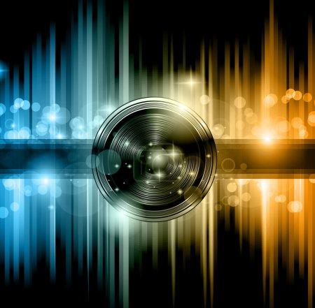 Illustration pour Flyer disco club avec beaucoup d'éléments de design abstraits et colorés. Idéal pour poster et fond musical . - image libre de droit