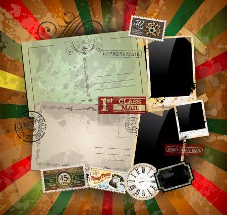 Illustration pour Composition de scrapbook vintage avec de vieux éléments de conception d'affranchissement de style et des cadres photo antiques ainsi que quelques autocollants post . - image libre de droit