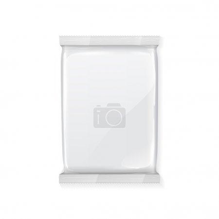 Foto de Blanco paquete de plástico envases de papel en blanco listo para su diseño de embalaje de productos de aperitivos - Imagen libre de derechos
