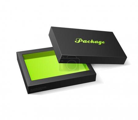 Illustration pour 3d boîte ouverte de bonbons moderne, noir et vert: eps10 - image libre de droit