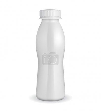 Illustration pour Bouteille en plastique de yaourt blanc 3D EPS10 - image libre de droit