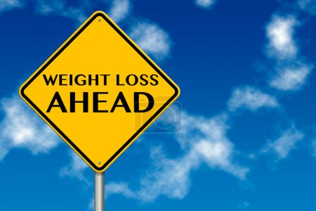 Photo for Weight Loss ahead sign showing business concept on a sky background - Royalty Free Image