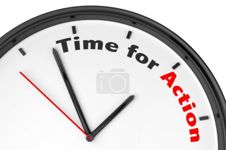 Photo for Time for Action concept. Modern clock with sign on a white background - Royalty Free Image